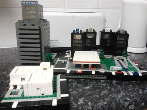 Graeme Page- Subway /train surfacing, Subway/train decending, Black buildings 1, Black Buildings 2, Hotel, White Art Gallery