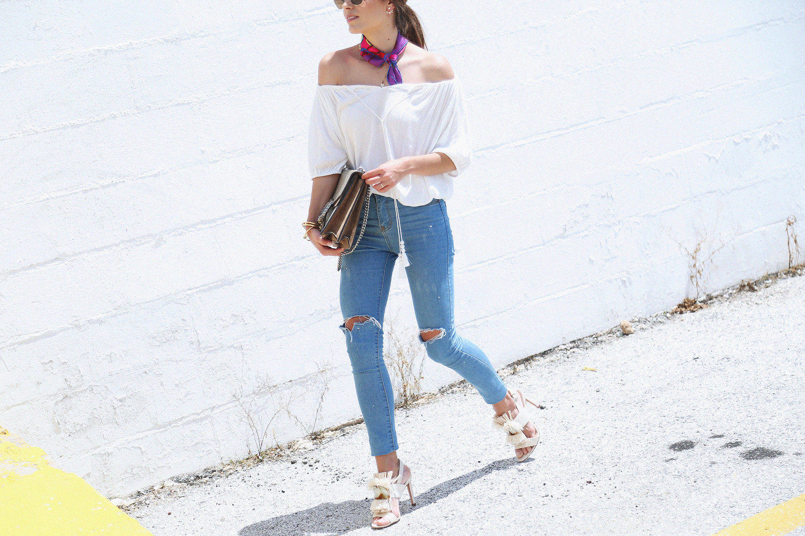 jessie chanes seams for a desire white off shoulder top high waisted jeans gucci bag uterque-4