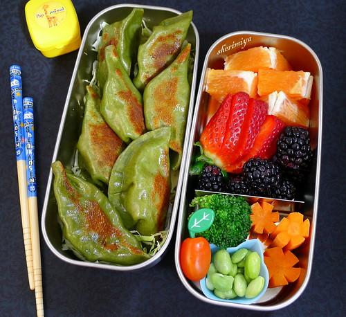 Spinach Gyoza Bento by sherimiya ♥