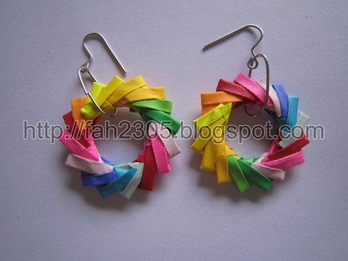 Paper Jewelry - Handmade Origami Wreath Earrings (Multicolor) by fah2305