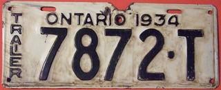 ONTARIO 1934 ---TRAILER LICENSE PLATE