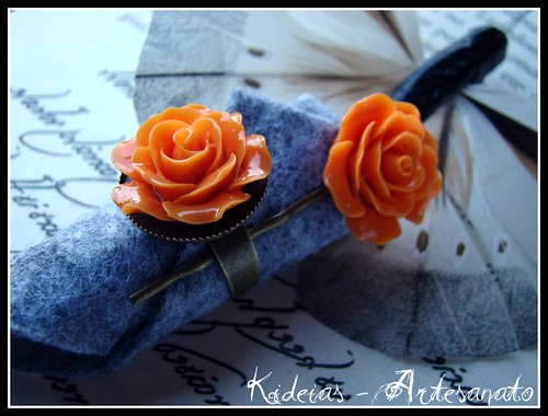 Anel e gancho rosa laranja by kideias - Artesanato