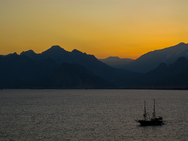 A Ship at Sunset in Antalya