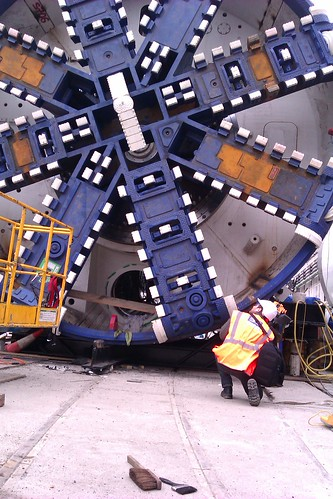 Looking up at Crossrail Tunnel Boring Machine