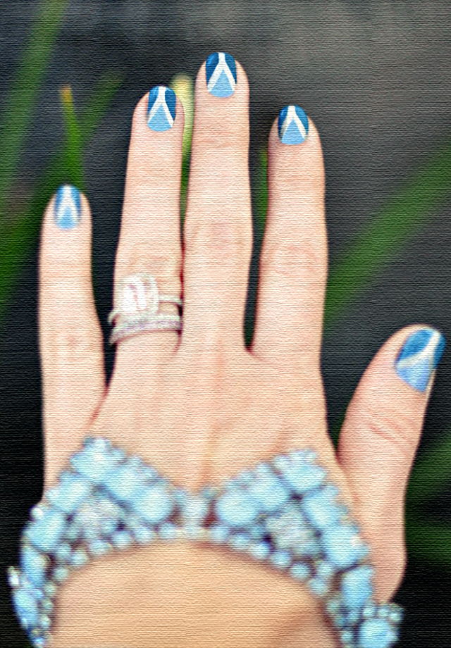 blue triangle  nails -canvas painting