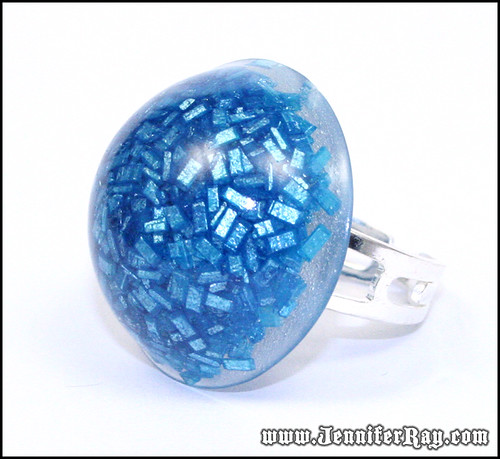 Blue Candy Ring - Real Candy Blue Resin Ring by JenniferRay.com