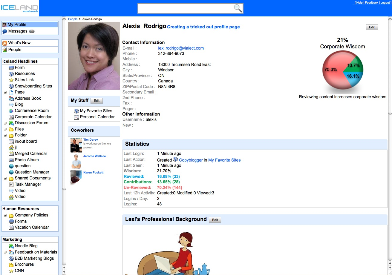 Social Intranet Feature Employee Profile Page In Noodle