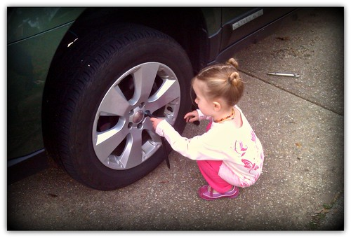 Changing the Tire on our Subaru