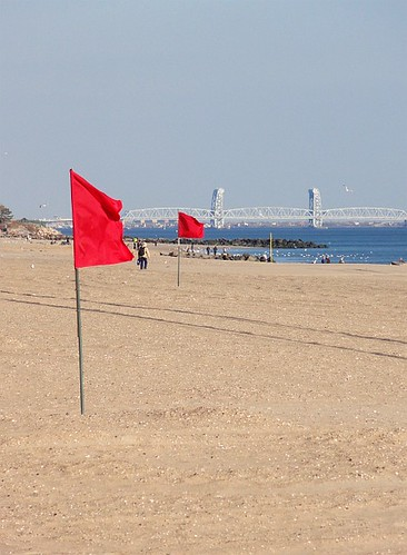Red Flags on the Beach at Coney Island
