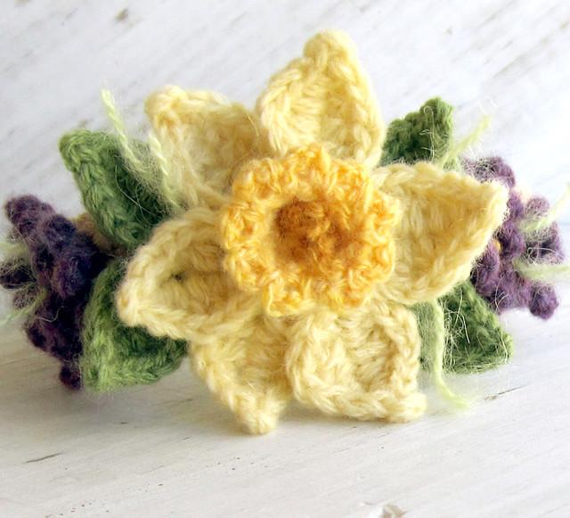 Free Daffodil Doily Crochet Pattern : Crochet Daffodil Bracelet with Violets Flickr - Photo ...