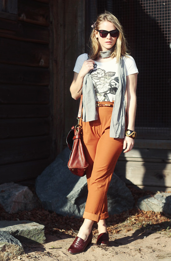 T-shirt & belt:  J. Crew; Trousers & shoes:  Urban Outfitters; Scarf:  Tulle; Bag:  Fossil; Sunnies: Karen Walker