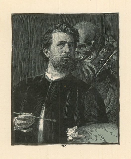 Albert Krüger.  Böcklin's Selbstbildnis mit Tod (Böcklin's Self Portrait with Death).  Woodcut in two colors.  Berlin, 1898.  Pan.  Vol. IV, no. 4.