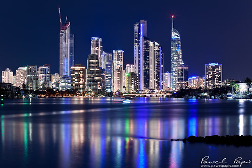 city blue light sky urban blur building tower beautiful skyline architecture modern night skyscraper outdoors town downtown glow cityscape view apartment crane australia illuminated highrise infrastructure qld queensland viewpoint urbanscape goldcoast reflectionriver