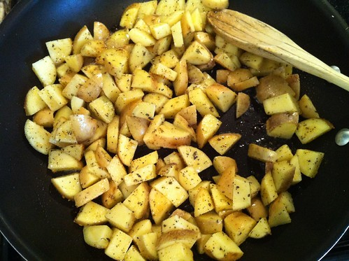 Sautéing the potatoes