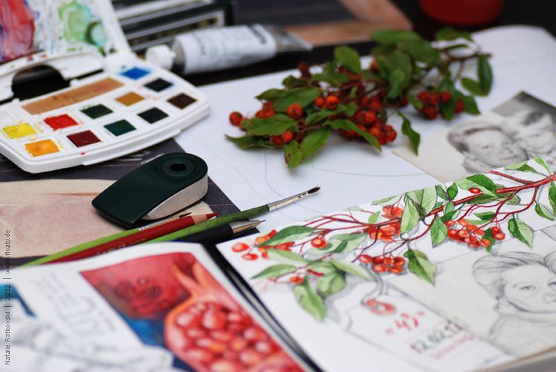 """My """"365"""" sketchbook, work area"""