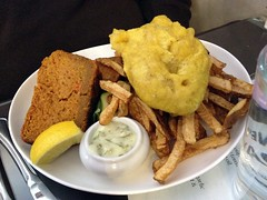 Vegan Fish and Chips with Sweet Potato Cornbread