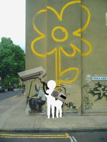Banksy homage - walking in my mind... by Die blauen Reiter
