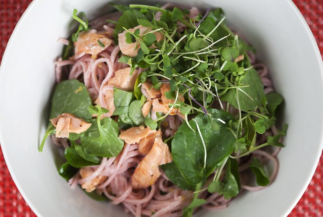 Pink Soba with Salmon and Watercress