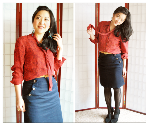 Do What You Love - The Clothes We Wear - Silk Red Snakeskin Bow Blouse, Navy Skirt, Black Suede Platform Pumps, Chevron Tights