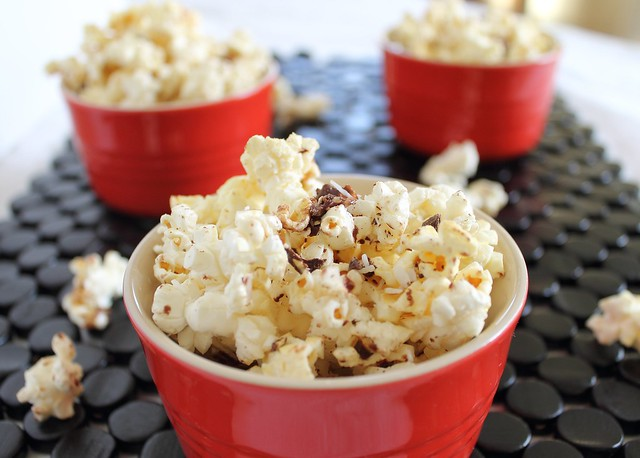 Chocolate coconut popcorn snack