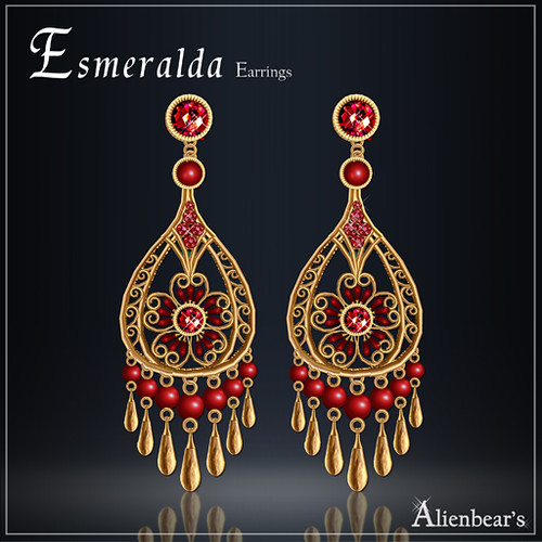 Esmeralda earrings gold red