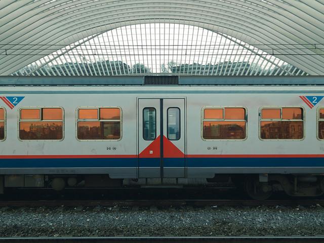 Deux. The Liège-Guillemins Railway Station.