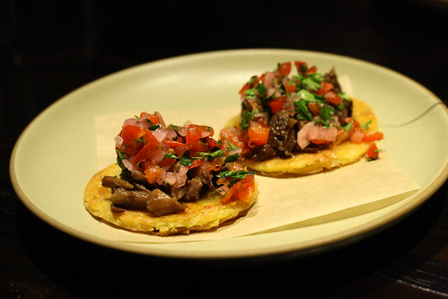 Pork Cheeks on Garbanzo Pancakes with Pickled Onions