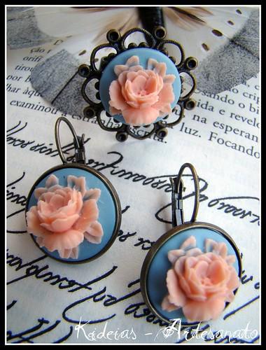 Anel e brincos vintage - Floral azul/salmão by kideias - Artesanato