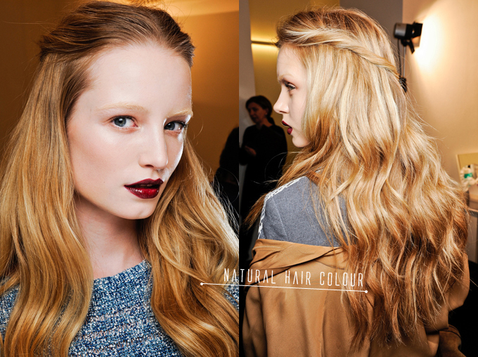 NATURAL HAIR COLOUR GUCCI RTW FALL 2012 BACKSTAGE DETAILS