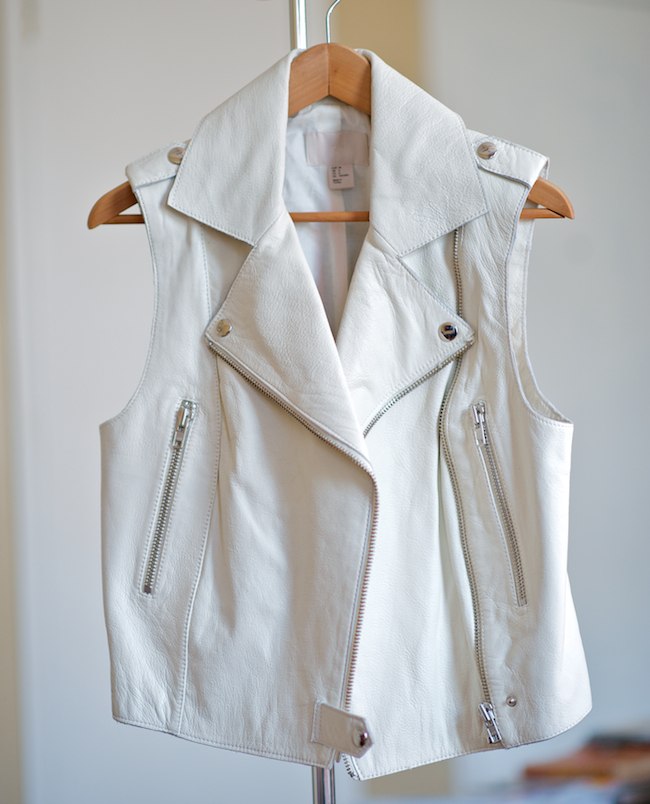 H&m White Leather Moto Vest
