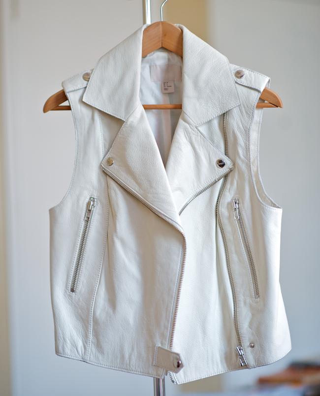H&m White Leather Moto Vest