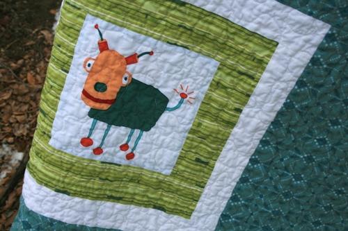 robot baby quilt