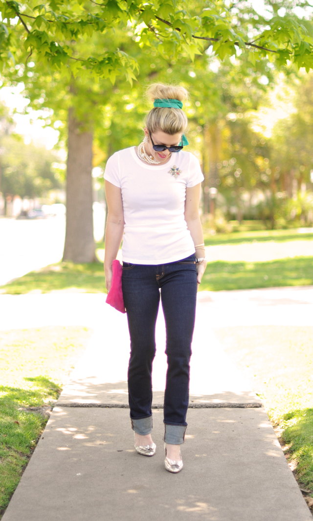 cuffed jeans-t -shirt-vintage shoes and jewelry-50's look