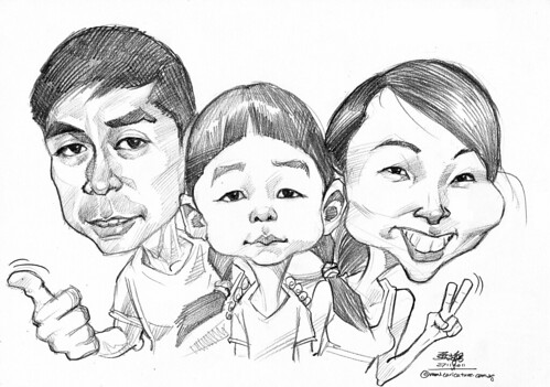 family caricatures in pencil
