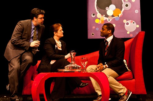 David Grimes (Flan), Lorraine McCann (Ouisa) and Kenneth Brangman (Paul) in the Grads' 2012 production of Six Degrees of Separation. Photo © The Grads