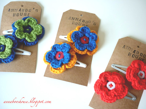 Annaboos house: Uses for Crochet flowers. Number 2