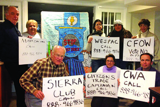 CWA Activists joined with Sierra Club and other to show support for Stop the TPP