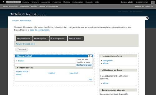 Drupal7 dashboard overlay et lien contextuel