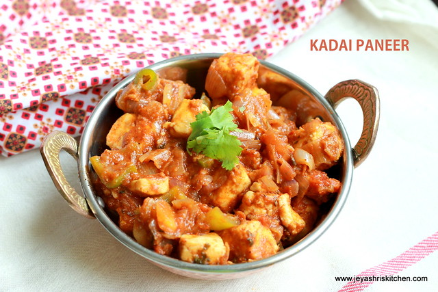 KADAI PANEER – SIDE DISH FOR ROTI-PANEER RECIPES | Jeyashri\'s Kitchen