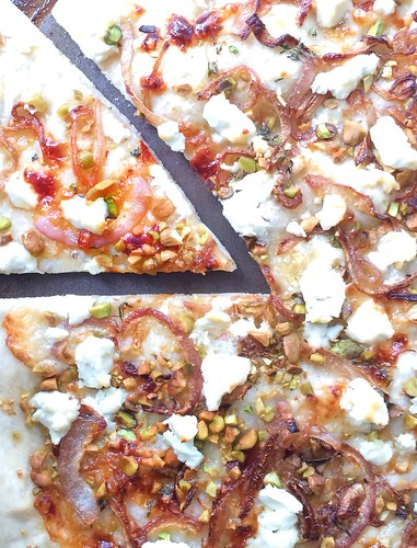 Goat cheese and Pistachio Pizza via MealMakeoverMoms.com/kitchen