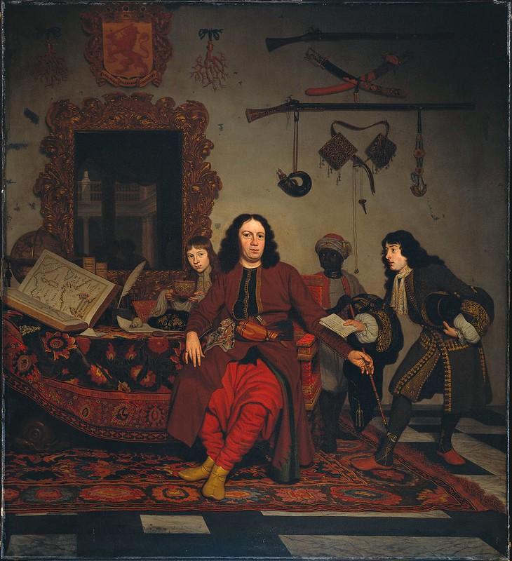 Michiel van Musscher - Groepsportret van Thomas Hees (-1692), Jan Hees (1670-1714) en Andries Hees (1662-1720)