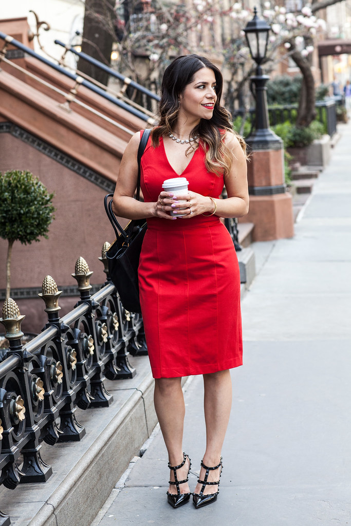 b_a_red Dress banana republic jcrew necklace work wear corporate blog what to wear to work hair corporate hair statement necklace red lipstick dresses to wear to work fashion blogger style blogger