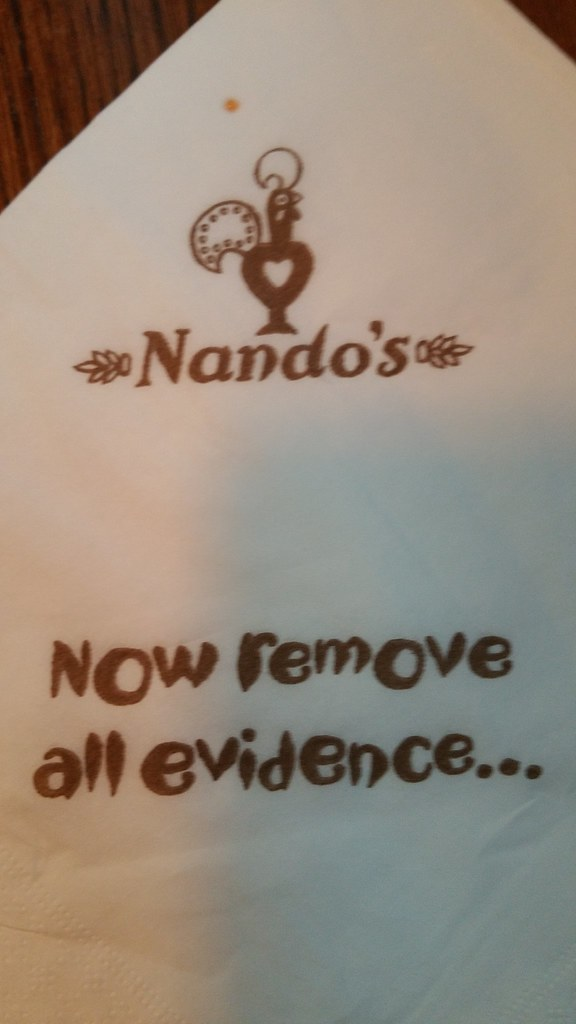 2016-May-19 Nando's Chicken - napkin