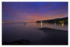 Tappan Zee Bridge at dusk over the Hudson
