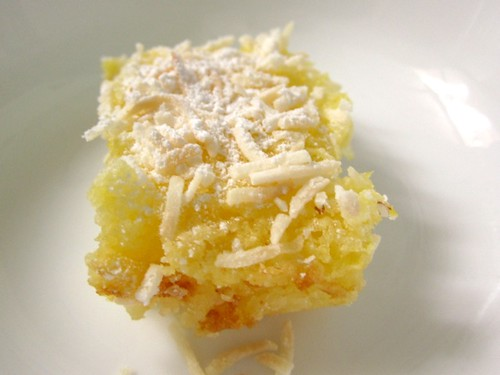 Lemon squares with coconut topping