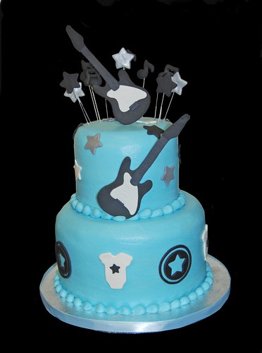 Blue and Black rock star baby shower cake