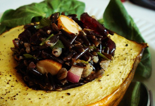 Wild Rice Stuffed Roasted Acorn Squash