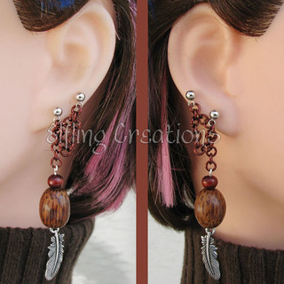 Brown feather connecting lobe chain earrings