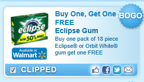 Buy One, Get One Free Buy One Pack Of 18 Piece Eclipse Or Orbit White Gum Get One Free Coupon
