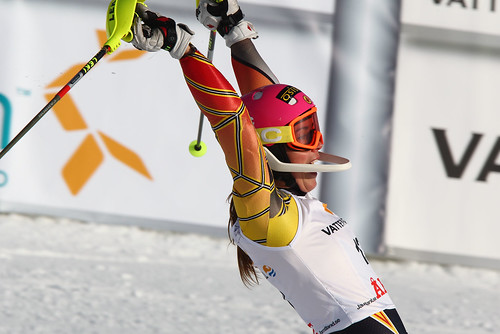 Marie-Michèle Gagnon celebrates after finishing third in World Cup slalom in Are, Sweden - her first World Cup podium.